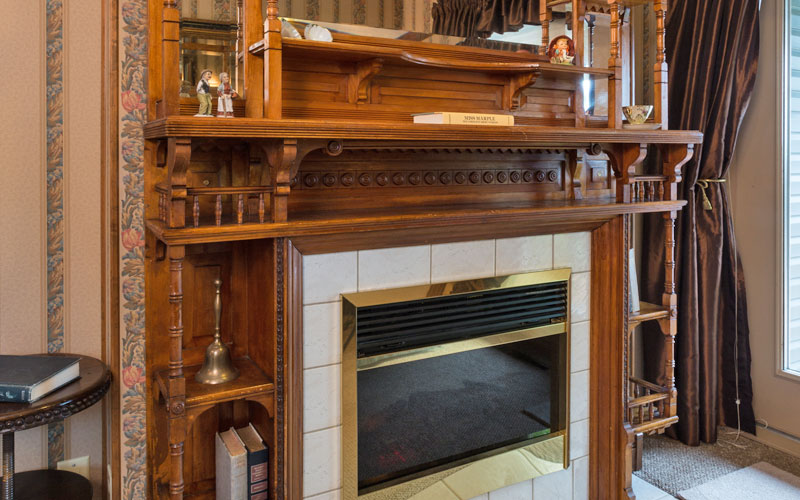 The antique fireplace in Cozy Corner
