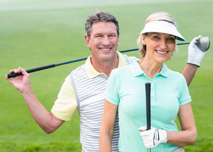 A Couple golfing