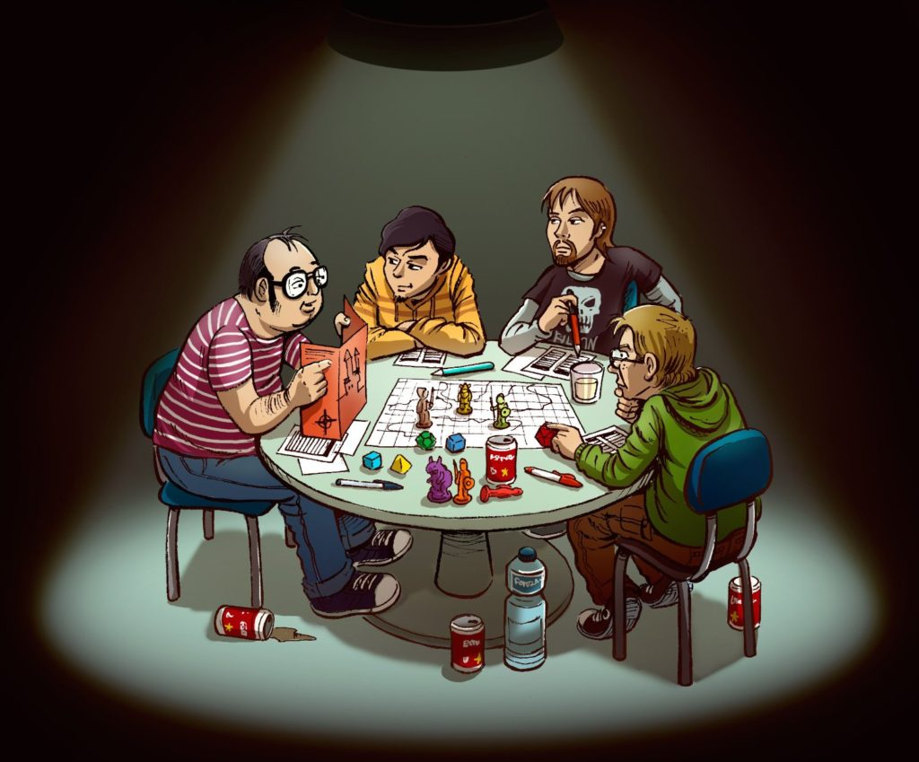Cartoon of men sitting around a table playing a game under a spotlight