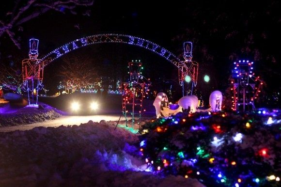 Photo taken by Andrea Paulseth of the entrance to the Christmas Village at Irvine Park in Chippewa Falls