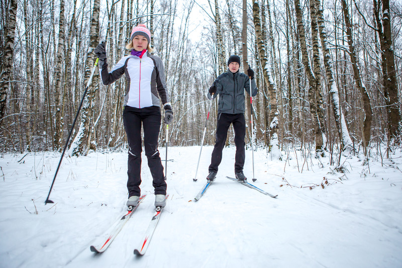 Couple cross country skiing in the woods. canstockphoto55798447