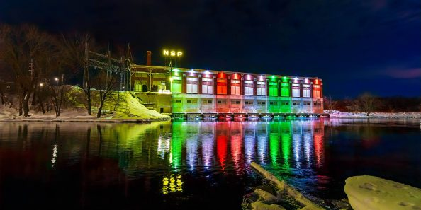 The New Lights on the NSP Dam in Chippewa Falls. Photo by Mike Howard Photography